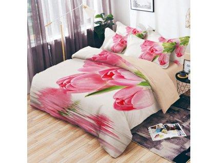 Bavlněné povlečení oboustranná na dvě lůžka - Růžové tulipány