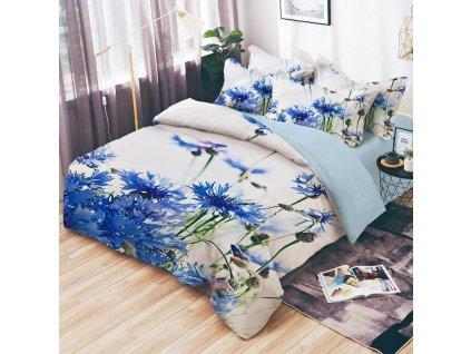 Bavlněné povlečení oboustranná na dvě lůžka, - Modré květiny