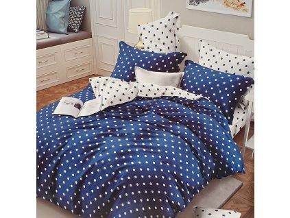 Francouzské bavlněné povlečení oboustranná, modrá s puntíky