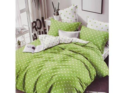Francouzské bavlněné povlečení oboustranná, zeléná/bílá s puntíky