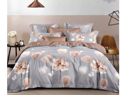 Fanelové povlečení oboustranné šedá - Béžové květiny