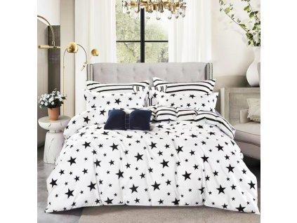 Povlečení oboustranné, černobílá - Hvězdy