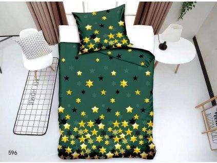Vánoční povlečení - Zelené a zlaté hvězdy
