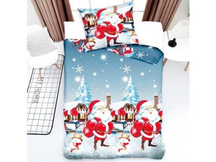 Vánoční povlečení - Santa Claus a chalupy