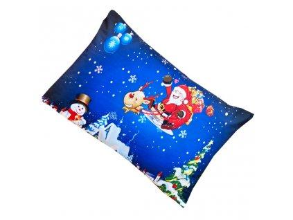 Vánoční povlak na polštář - Santa Claus na saních