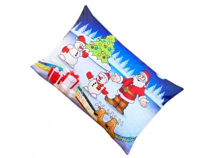 Vánoční povlak na polštář - Santa Claus a sněhuláci