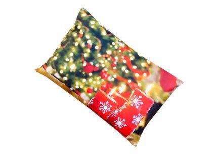 Vánoční povlak na polštář - Svíčky a vánoční strom