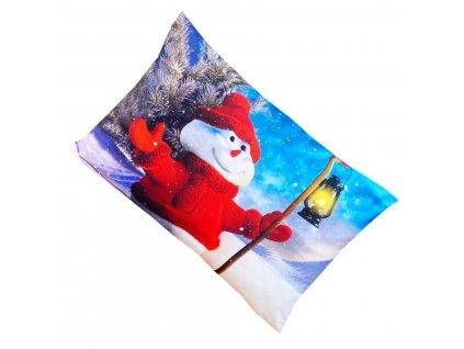 Vánoční povlak na polštář - Veselý sněhulák