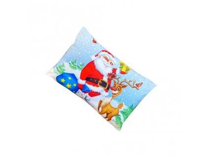 Vánoční povlak na polštář - Santa Claus a jelen