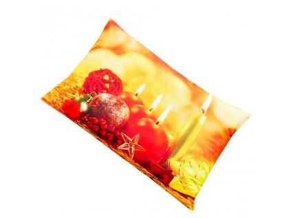 Vánoční povlak na polštrář - Svíčky a ozdoby