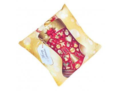 Vánoční povlak na polštář - Vánoční punčocha