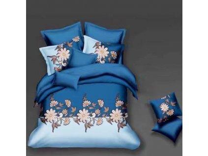 Bavlněné povlečení  na dvě lůžka modrobílá - Růžové květiny