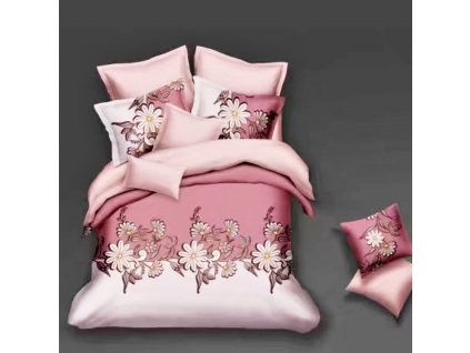 Bavlněné povlečení  na dvě lůžka béžovorůžová - Růžové květiny