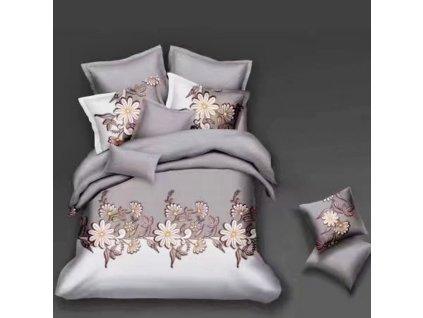 Bavlněné povlečení  na dvě lůžka šedobílé - Růžové květiny