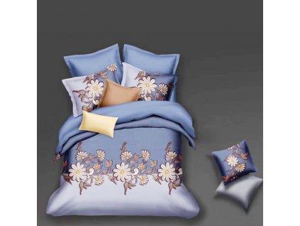 Bavlněné povlečení  na dvě lůžka tmavo modrobílá - Růžové květiny