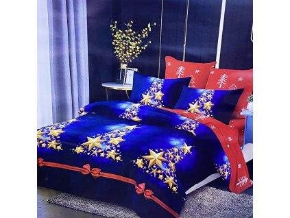 Vánoční povlečení na dvě lůžka - Zlaté hvězdy
