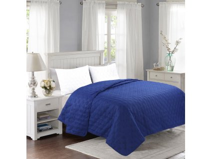 Prošívaný přehoz přes postel 200 x 240 cm NAVY BLUE