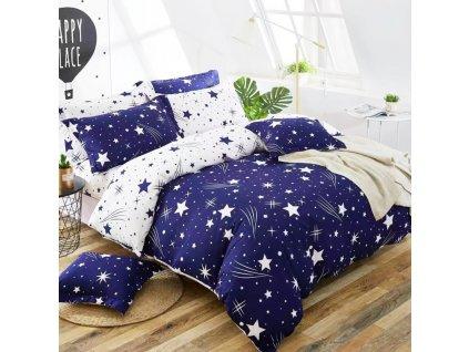 Bavlněné povlečení oboustranná modrábílá se hvězdama
