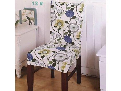 Univerzální potah na židli s motivem květin 1