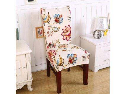 Univerzální potah na židli s motivem květin 2