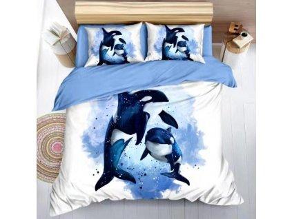 Bavlněné povlečení na dvě lůžka delfíni - Modrá