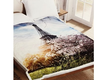 Mikroplyšová deka s beránkem Eiffelovka 150x200 cm