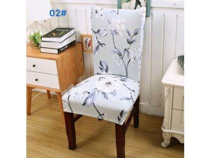 Univerzální potah na židli - Modré květiny