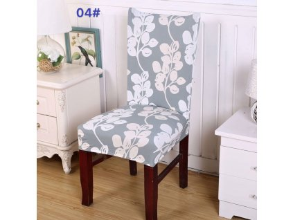 Univerzální potah na židli - Šedé květy