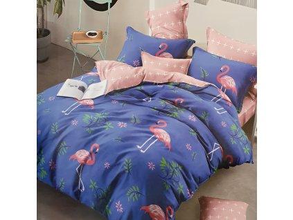 Bavlněné povlečení flamingo - Světle modré