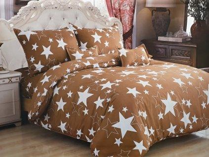 Povlečení bavlněné hvězdy - Světle hnědá