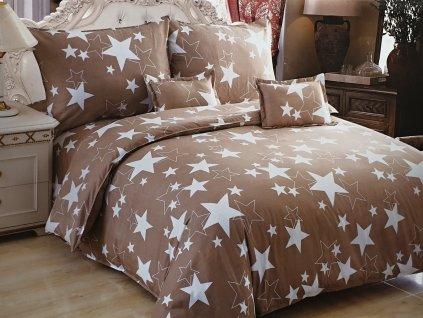 Bavlněné povlečení tmavě hnědá - Hvězdy