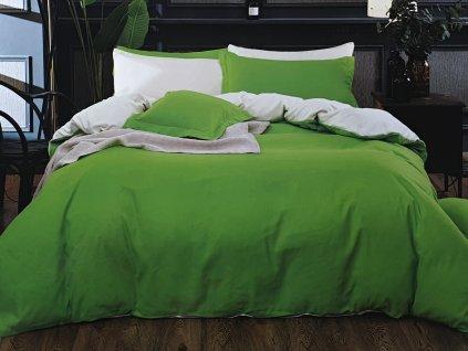 Bavlněná povlečení oboustranná, zelenobílá