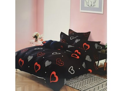 3 - Dílné luxusní bavlněné povlečení - srdíčka black