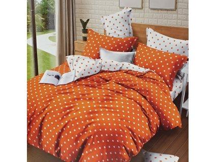 Bavlněné povlečení oboustranná, oranžovobílá s puntíky