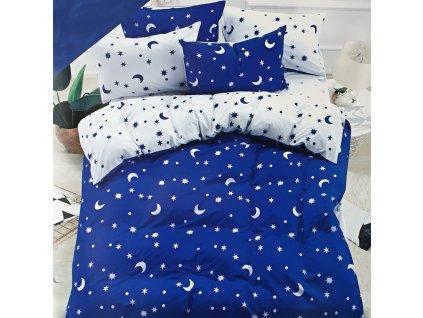 Francouzské bavlněné povlečení oboustranné, modrobílá s měsíci a hvězdama
