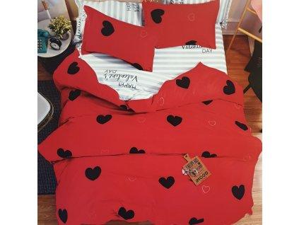 Bavlněné povlečení na dvě lůžka Happy valentines day - Červená