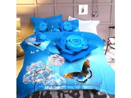 3D povlečení modrá s květinama a se stromy