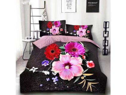 Bavlněné povlečení černá s květinama