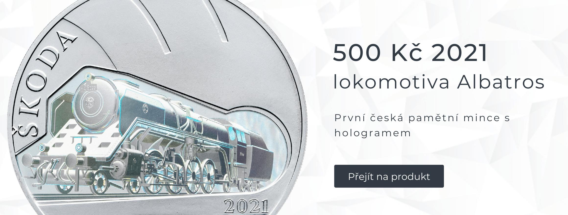Stříbrná mince 500 Kč 2021 Parní lokomotiva Škoda 498 Albatros