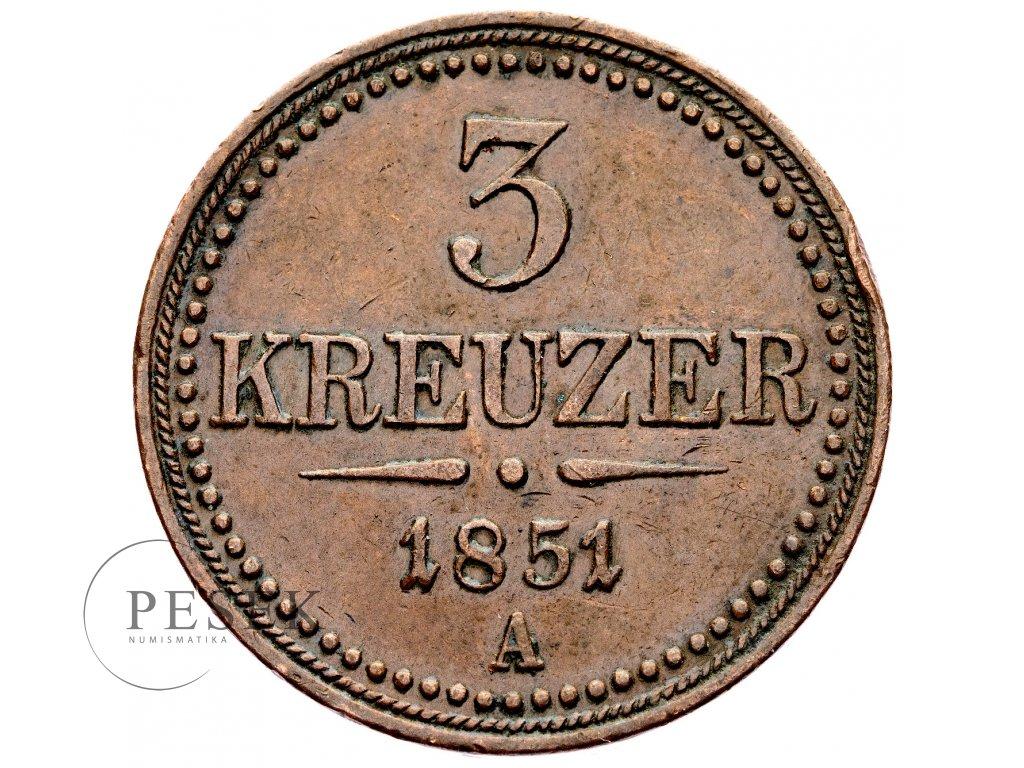3291 3 krejcar 1851 a
