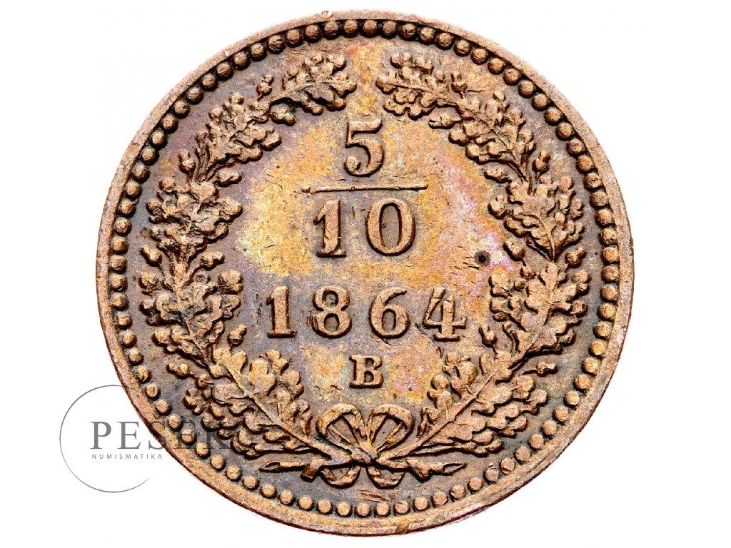 3300 5 10 krejcar 1864 b
