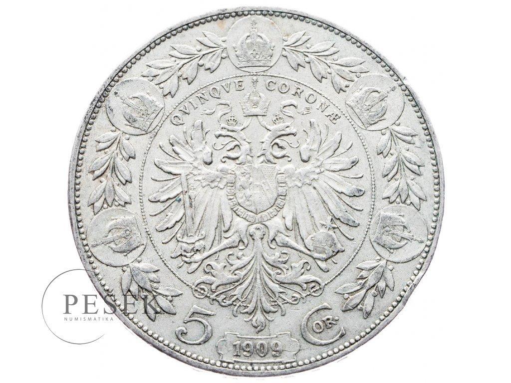 5394 5 koruna 1909 schwartz