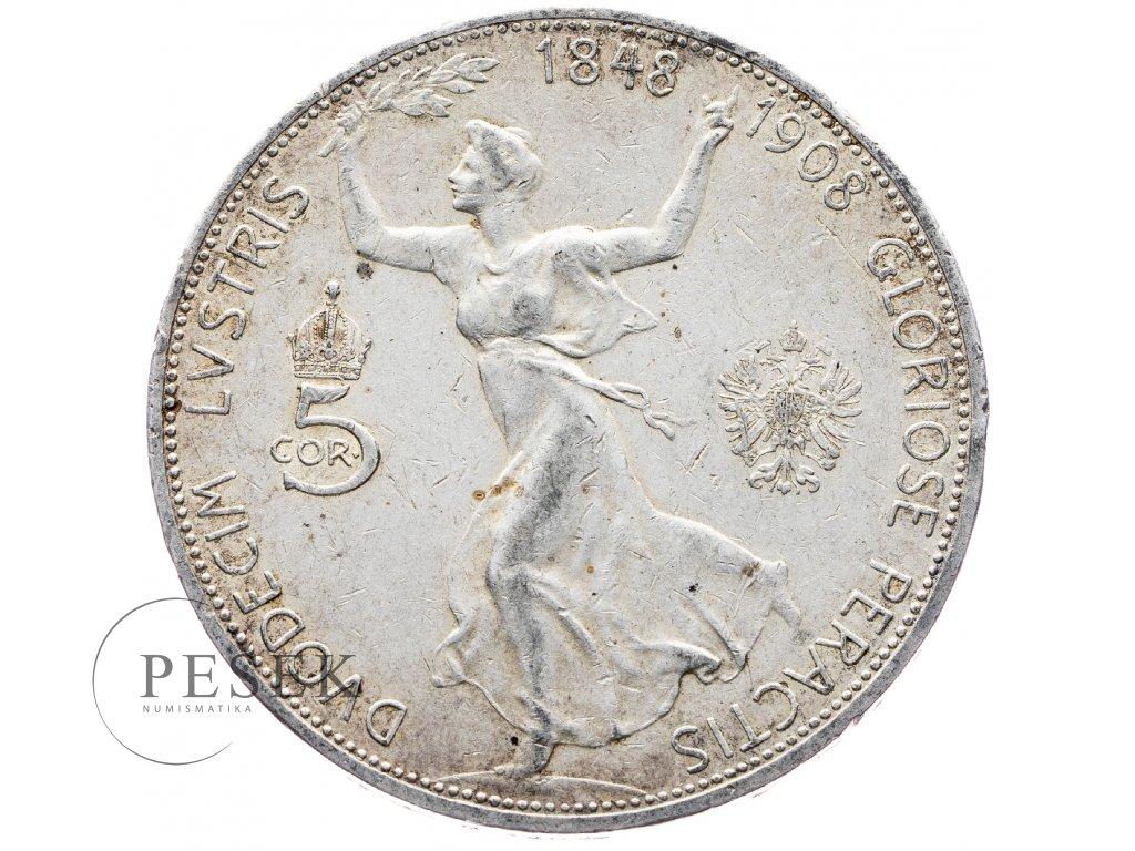 5406 5 koruna 1908 jubilejni