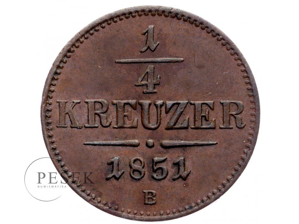 8886 1 4 krejcar 1851 b