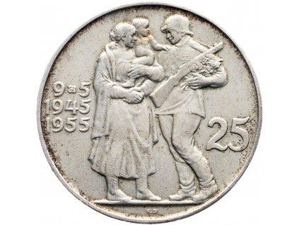 7245 25 koruna 1955 10 vyroci osvobozeni ceskoslovenska