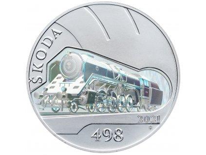 8484 stribrna mince 500 kc 2021 parni lokomotiva skoda 498 albatros