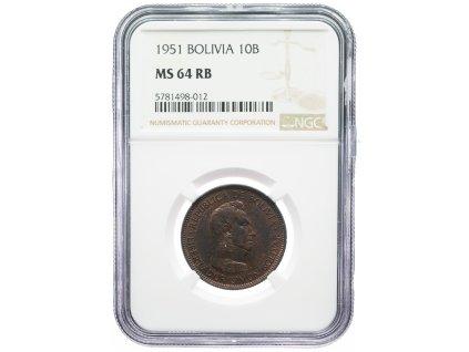 9159 bolivie 10 bolivar 1951 ngc ms64rb