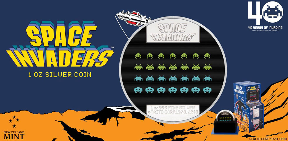 Stříbrná sběratelská mince - Space Invaders - 31.068 g - 0.999 Ag - New Zealand Mint - PROOF