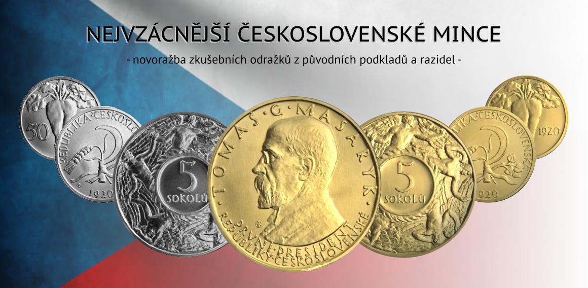 Novoražby nejvzácnějších československých mincí - zkušebních odražků 5 Sokolů a 50 Stotin