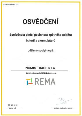 rema-osvedceni-numis-trade-spolecnost-plnici-povinnost-zpetneho-odberu-baterii-akumulatoru